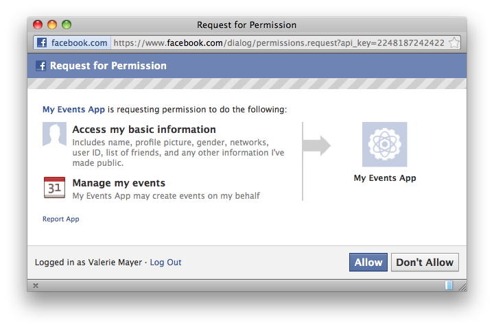 Working with Facebook events using Graph API, JS-SDK and PHP