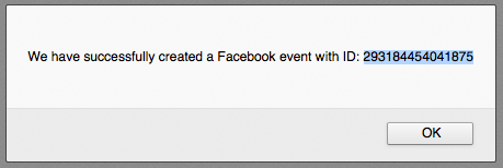 Successfully created a new event