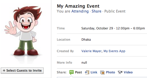 Facebook event with profile picture